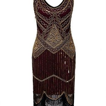 Women's 1920s Gatsby Inspired Sequined Embellished Fringed Flapper Dress