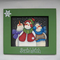 Christmas Folk Art Three Snowmen Watching for Santa Tole Painted and Framed