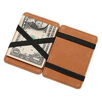 Luxury Magic Wallet money clip credit card holder ID business mens PU leather C