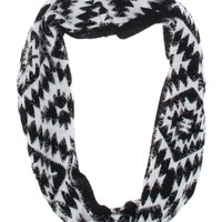 With Love From CA Eyelash Yarn Tribal Infinity Scarf - Womens Scarves - Black - One