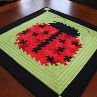 Ladybug Lil'Twister Quilted Wallhanging or Table Topper in Red, Black, and Lime Green for Your Little Bug Lover