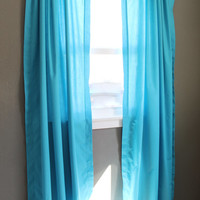 Ocean Blue Curtains: Bright Blue Modern Window Treatments, Lightweight Aqua Blue Curtains, Solid Color Curtain Panel Pair, READY TO SHIP
