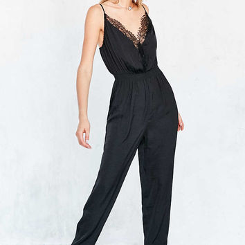 Kimchi Blue Nighting Gale Lace Surplice Satin Jumpsuit - Urban Outfitters