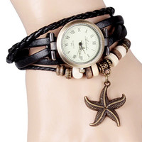 Black Rope Leather Watch With Starfish Design