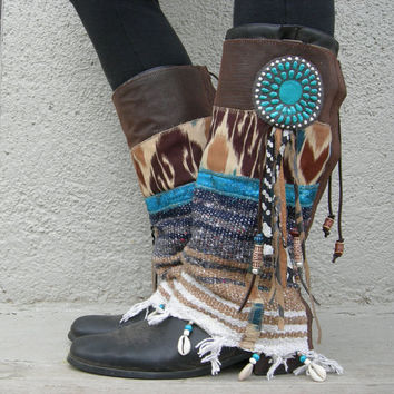Desert Dancer- TALL Fringe Tribal Boot cuffs-