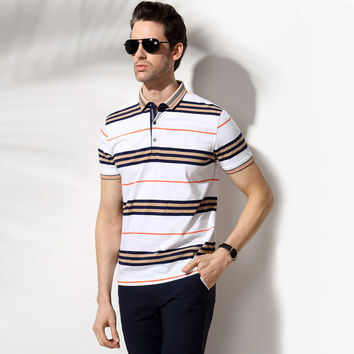 Summer Men's Fashion Cotton Stripes Short Sleeve Men Tops T-shirts [6544679939]