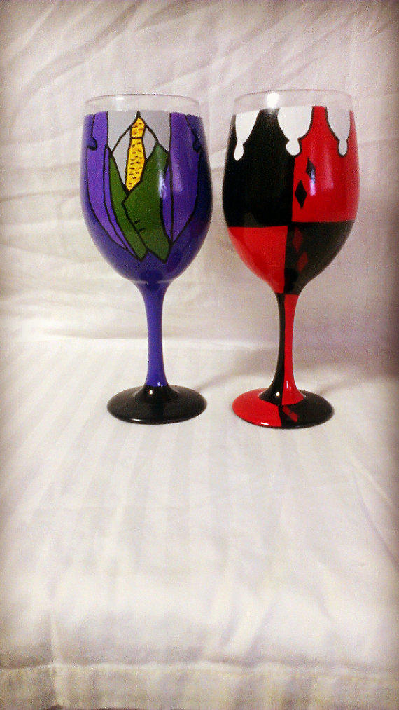 Harley Quinn And The Joker Inspired Hand Painted Wine Glasses. DC Comics Harley Quinn Card Game Throw from Hot Topic   Things I