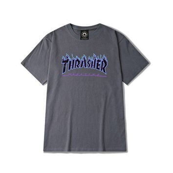 Thrasher Magazine Flame Logo Dark Gray T-Shirt