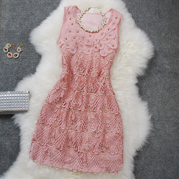 Vintage Lace and Embroidered Party Dress