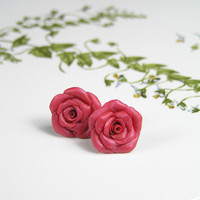 Red roses polymer clay stud earrings - polymer clay jewelry - post earrings - floral earrings
