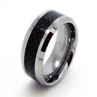 10mm Tungsten Carbide Black Carbon Fiber Wedding Ring Sizes 7-17