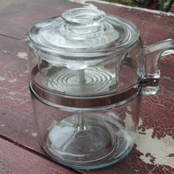 Vintage Pyrex 9 Cup Rangetop Glass Coffee Percolator Pyrex Flameware Coffee Maker
