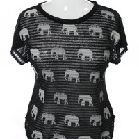 Plus Size See Through Knit Elephant Black Top, Plus Size Clothing, Club Wear, Dresses, Tops, Sexy Trendy Plus Size Women Clothes