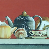 Original Painting Still Life Coastal Art Teapot Collection Seashell Signed