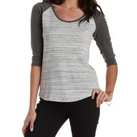 Combo Three-Quarter Sleeve Baseball Tee by Charlotte Russe