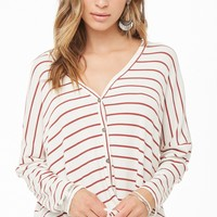 Striped Dolphin Hem Cardigan