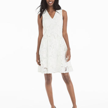 White House | Black Market White Lace Fit-And-Flare Dress