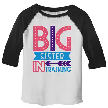 Girl's Toddler Big Sister in Training T-Shirt Promoted Shirt Baby 3/4 Sleeve Raglan