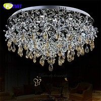Living Room Modern Ceiling Crystal Chandelier Lightings Round LED Lamp