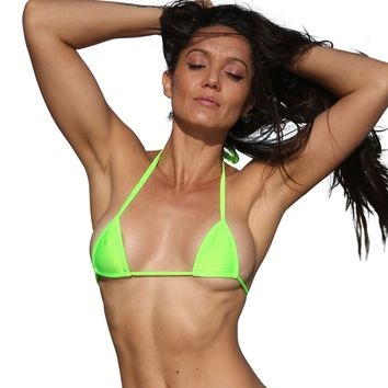 Neon Green Micro Mini Curtain Bikini Top Sassy Assy Swimwear