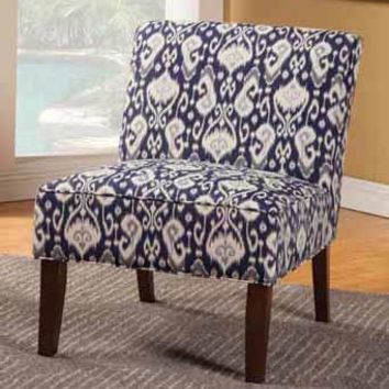 Chelsea II collection navy and white printed fabric upholstered accent chair with wood legs