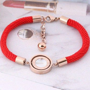 ac NOVQ2A Bnlgari Red Rope Bracelet female Roman numerals black and white turn rose gold personalized hand rope