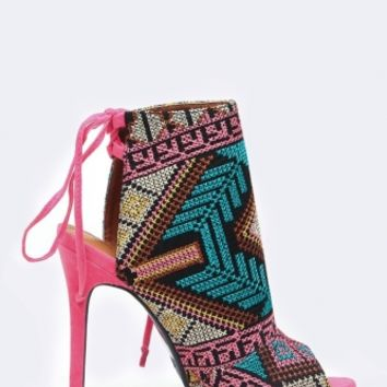 Pink Abstract Print Peep Toe Booties @ Cicihot Heel Shoes online store sales:Stiletto Heel Shoes,High Heel Pumps,Womens High Heel Shoes,Prom Shoes,Summer Shoes,Spring Shoes,Spool Heel,Womens Dress Shoes