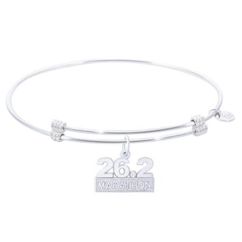 Sterling Silver Alluring Bangle Bracelet With Marathon 26.2 W/Diamond Charm