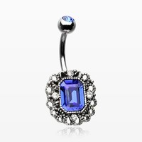 Victoria Blue Sparkle Filigree Belly Button Ring