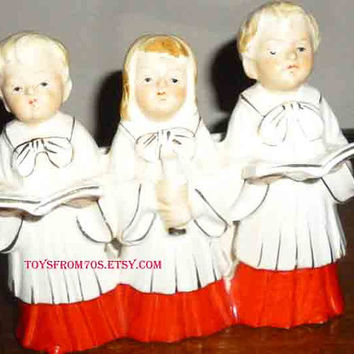 Vintage mid century Christmas church choir trio ceramic figurine vase/planter rare
