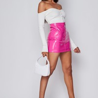 The Vinyl Word Zipper Mini Skirt Hot Pink