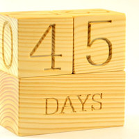 Natural Wood Baby Age Blocks for Photo Props, Baby Shower Gifts, Kid's Room Decor, Nursery and Maternity Blocks, Countdown Calendar