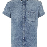 ACID WASH STUD DENIM SHIRT - View All  - New In