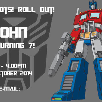 Transformers Printable Birthday Invitation 5 x7/4 x 6