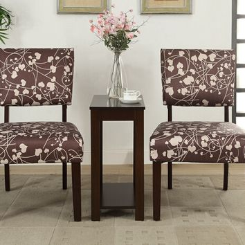 3 pc Sheryl IV collection espresso finish wood accent chair and side table set with two tone floral design patterned fabric