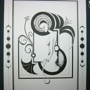 """Original art deco artwork 11x14, pen and ink drawing, portrait surreal artwork, black and white drawing """"Street Foxing Lady"""""""
