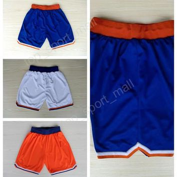 Cheap Basketball Shorts 2017 Men New York 6 Kristaps Porzingis Pant Sport Team Blue White Orange 13 Joakim Noah Sportswear Top Quality