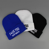 Fuck You Very Much Beanie Warm Winter Fashion Casual Knitted Mens & Womens Blue Black White Cuffed Skully Hat