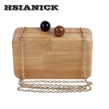 Fall and winter retro pure handmade wooden square ball first lady evening bag clutch handbag party bag wedding dinner clutch bag