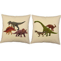 Set of 2 Dino Party Throw Pillows - Dinosaur Print Pillow Covers and or Cushion Inserts - T-Rex, Stegosaurus, Triceratops, Jurassic Park
