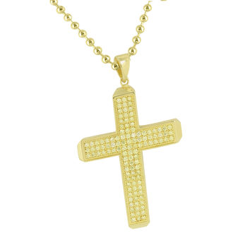 Mens Yellow Lab Created Diamond Cross Pendant  Necklace New