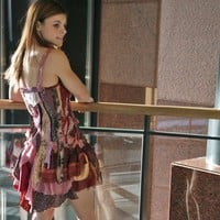 upcycled clothing . romantic tattered wearable art dress . peaseblossom