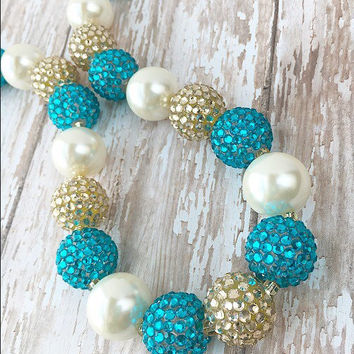 Bubblegum Bead Necklace, Princess Chunky Necklace for Girls, Girl Bubblegum Necklace, Cake Smash Necklace, Teal and Gold Necklace
