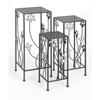 Square Plant Stand With Jewel Decoration - Set of 3