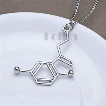 Serotonin Molecular Structure - Metal Chemical Necklaces