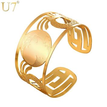 U7 Ethiopian Big Bangles Africa Map Cuff Bracelets For Men/Women Gold/Silver Color Hip Hop African Jewelry 2017 New Hot H1007