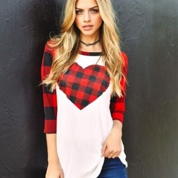 Aria Plaid Heart Raglan (Curvy)