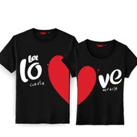 Korean Style Couple T Shirts Matching Half Heart Set of 2 Personalized Couples Jewelry | Occasions Uncommon Gifts | Unique Phone Cases | Worldwide Shipping