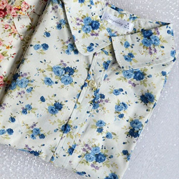 Fashion women work wear vintage floral print cotton blouse