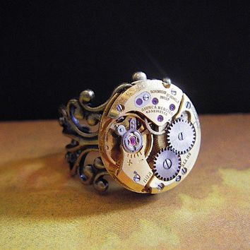 sphere Steampunk Ring  Repurposed art by steampunkjunq on Etsy